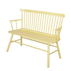 Target Marketing Systems Shelby Wooden Bench with Spindle Back and Arms, Yellow