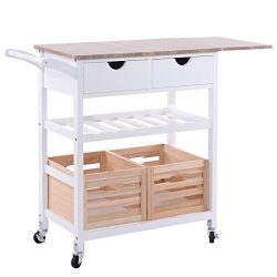 Costzon Kitchen Trolley Island Cart Dining Storage with Drawers Basket Wine Rack
