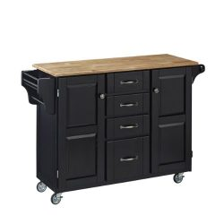 Home Styles 9100-1041 Create-a-Cart 9100 Series Cuisine Cart with Natural Wood Top, Black, 52-1/ ...