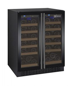 Allavino FlexCount VSWR36-2BWFN Black 36 Bottle Dual Zone Wine Cooler with French Doors