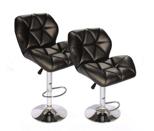Set Of 2 Black Bar Stools Leather Modern Hydraulic
