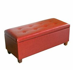 Kinfine Large Leatherette Storage Bench with Hinged Lip, Cinnamon Red