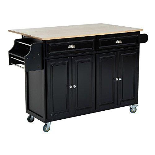 homcom rolling kitchen island storage cart w drop leaf top black diningbee diningbee. Black Bedroom Furniture Sets. Home Design Ideas
