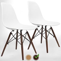 UrbanMod Eames Style Modern Dining Armless Side Chairs (Set of 2) Walnut Legs | Molded White ABS ...