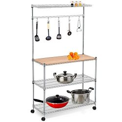 Yaheetech 4 Tier Adjustable Stainless Steel Kitchen Bakers Rack Microwave Stand Silver