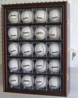 20 Baseball or Cube Display Case Cabinet, with 98% UV protection. with Lock and Keys (Cherry Finish)