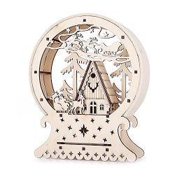 Christmas Luminous LED Wood House Ornament Xmas Gift Table Decor Decorations For Mantel Pieces W ...