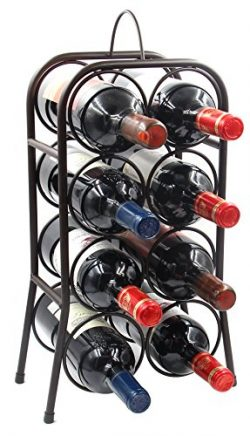 PAG 8-Bottle Metal Wine Rack Free-Standing Countertop Wine Holder Shelf for Storage and Display, ...
