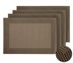 Deconovo Durable Palcemats Crossweave Woven Table Placement Mats Waterproof Anti-skid Placemats  ...