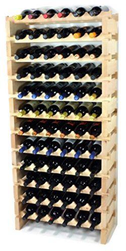 Modular Wine Rack Beechwood 24-72 Bottle Capacity 6 Bottles Across up to 12 Rows Newest Improved ...