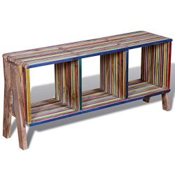 vidaXL Reclaimed Teak TV Cabinet Stand Sideboard Low Board 3 Shelves Colorful