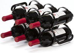 Mango Steam 6 Bottle Wine Rack (6 Bottle Wine Rack, Black)