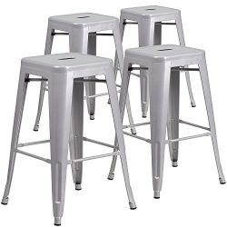 Belleze Bar Stools Set of (4PC) Vintage Counter Stool Modern French-Silver (26 inches)
