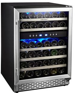 "Phiestina 24"" Built-in or Free-standing 46 Bottle Wine Cooler Refrigerator. Pro Stainless  ..."