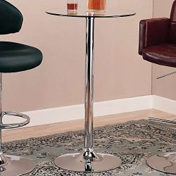 Coaster Bar Table with Glass Top in Polished Chrome Finish