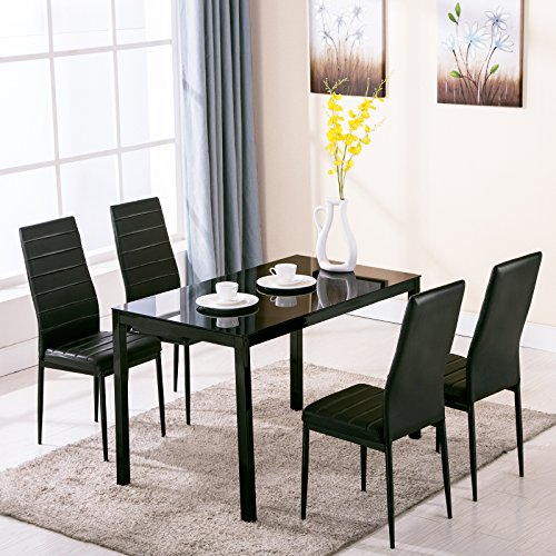 Black And White Kitchen Table Sets: Mecor 5 Piece Kitchen Table Set Dining Table & 4 Leather