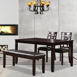 Harper&Bright Designs Upholstered Dining Bench Dining Room Table Bench, Dark Brown