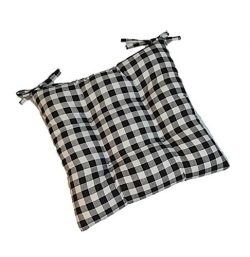 Indoor Cotton Black Plaid / Country Checkered / Checkerboard Universal Tufted Seat Cushion with  ...
