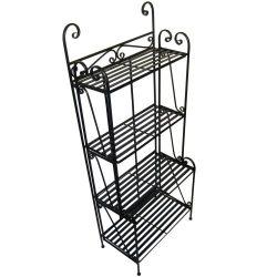 Folding Piper Bakers Rack Four Shelves – Black