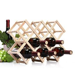 Wood 10-Bottle Stackable Wine Rack Folding Organizer Display Wine Bottle Holder