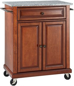 Crosley Furniture Cuisine Kitchen Island with Solid Grey Granite Top – Classic Cherry