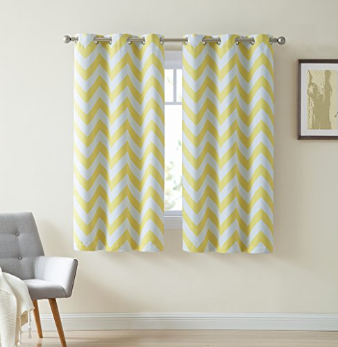 Hlc me chevron print thermal insulated room darkening blackout window curtain panels for living for Chevron curtains in living room