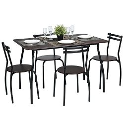 Lillyarn 5Pcs Dining Set Breakfast Table and Chairs Set Metal Dinette Set Kitchen Furniture for  ...