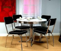 Target Marketing Systems 5 Piece Retro Dining Set with 4 Dining Chairs and 1 Round Dining Table, ...