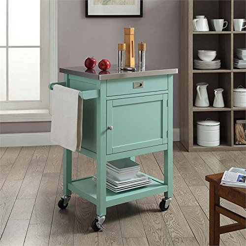 Sydney Kitchen Island Cart Light Green With Stainless