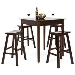 Best Choice Products 5 Piece Solid Wood Dining Pub Bar Table Set with 4 Backless Saddle Stools