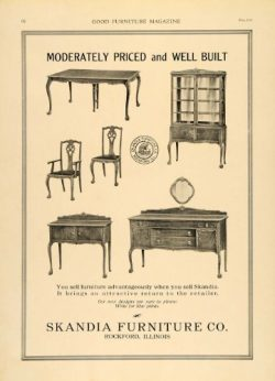 1919 Ad Skandia Furniture Wooden Dining Room Set Carved – Original Print Ad