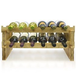 Sorbus 2-Tier Stackable Bamboo Wine Rack— Classic Style Wine Racks for Bottles— Perfect for Bar, ...
