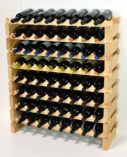 Modular Wine Rack Beechwood 32-96 Bottle Capacity 8 Bottles Across up to 12 Rows Newest Improved ...