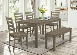 WE Furniture 6 Piece Homestead Wood Dining Set – Aged Grey