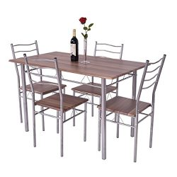 Giantex Modern 5 Piece Dining Table Set for 4 Chairs Wood Metal Kitchen Breakfast Furniture (Sha ...