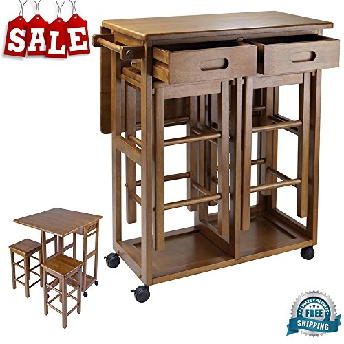 Counter Height Folding Table With Stools Amp Drawers Wooden