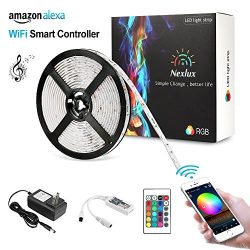 Nexlux LED Strip, Alexa Echo Controlled 16.4ft Wireless LED Light Strip Color Changing Kit 150le ...
