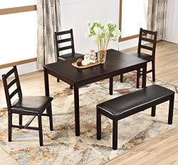 Harper & Bright Designs 5 Piece Dining Table Set Dining Dinette Table chairs and Bench Kitch ...