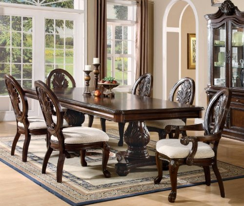Formal Dining Room Sets: 7pc Formal Dining Table & Chairs Set With Claw Design Legs