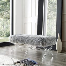 Giselle Grey Faux Fur Bench – Modern Acrylic X-Leg | Upholstered | Living Room, Entryway,  ...