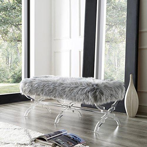 grey fur rug padded bench closet design ideas | Giselle Grey Faux Fur Bench - Modern Acrylic X-Leg ...