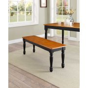 Better Homes and Gardens Autumn Lane Farmhouse Bench, Black and Oak