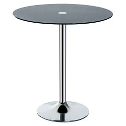 HOMCOM 28″ Round Glass Top Pub Bistro Bar Table (Black)