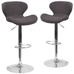 Flash Furniture 2 Pk. Contemporary Charcoal Fabric Adjustable Height Barstool with Chrome Base