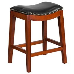 """Flash Furniture 26"""" High Backless Light Cherry Wood Counter Height Stool with Black Leathe ..."""