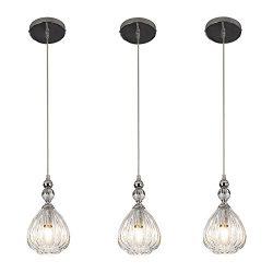 SOTTAE Modern Style Elegant Hanging Light Fixture 5.11 Inches Diameter Pendant Light, Glass Shad ...
