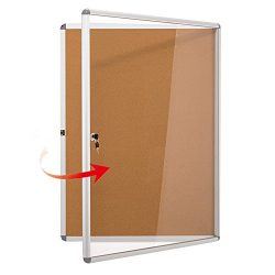 SwanSea Enclose Bulletin Board Case School Cork Noticeboards Cabinet with Mounting Screws 38×28  ...