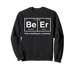Unisex Pub Crawl Beer Periodic Table Science Sweatshirt 2XL Black