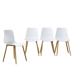 GreenForest Dining Side Chairs Modern Eames Dining Chairs Plastic High Back Chairs Metal Legs wi ...