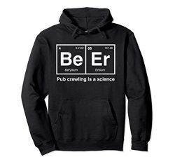 Unisex Pub Crawl Beer Periodic Table Science Hoodie Small Black